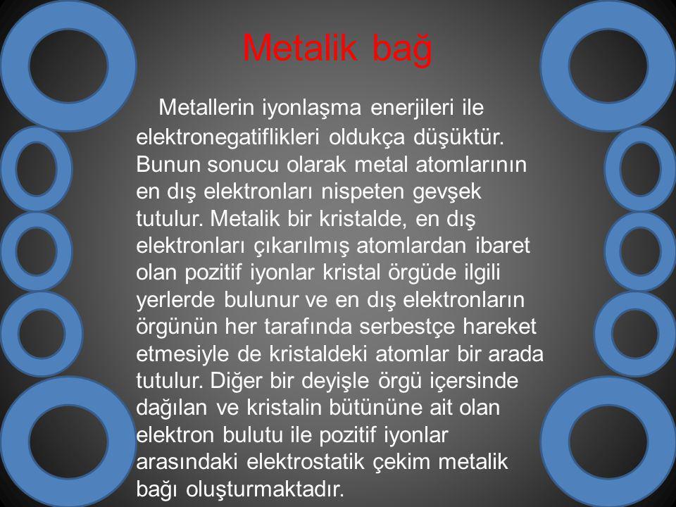 Metalik bağ Metallerin iyonlaşma enerjileri ile elektronegatiflikleri oldukça düşüktür. Bunun sonucu olarak metal atomlarının en dış elektronları nisp