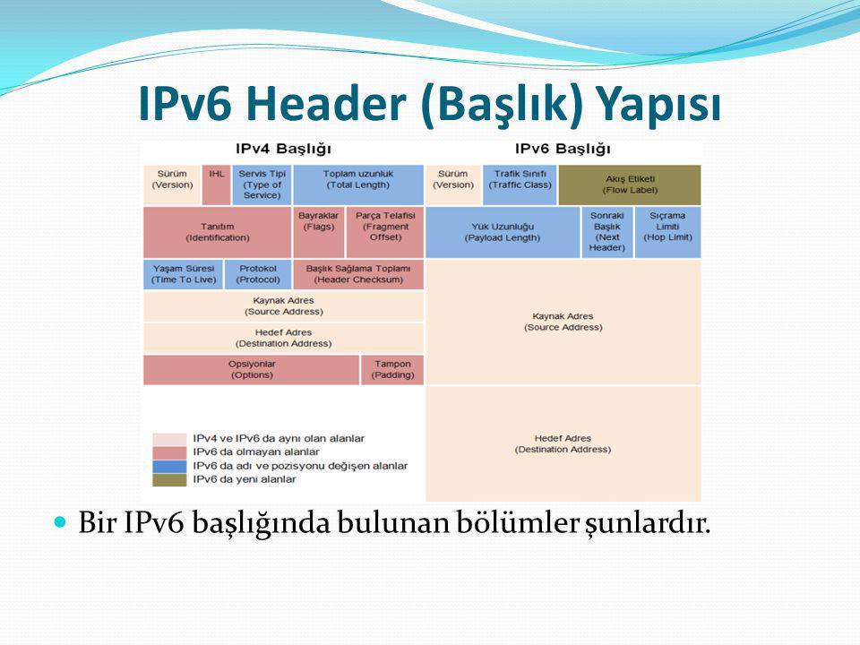 IPv6 Header (Başlık) Yapısı Bir IPv6 başlığında bulunan bölümler şunlardır.