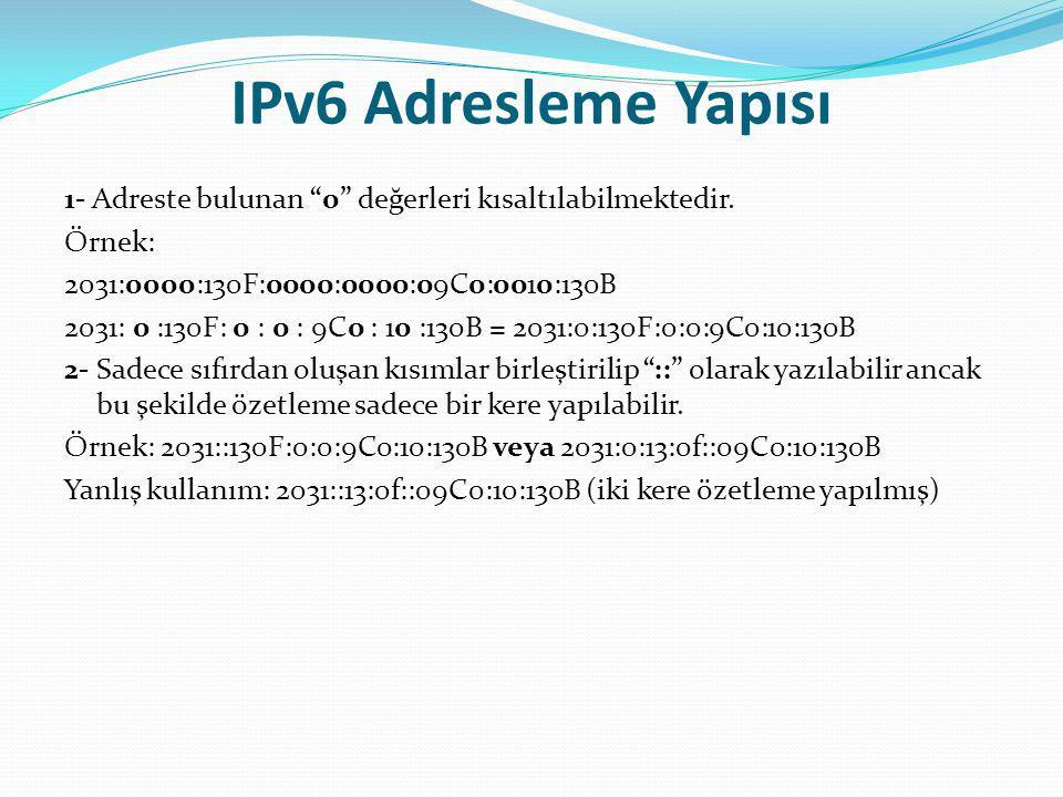 """IPv6 Adresleme Yapısı 1- Adreste bulunan """"0"""" değerleri kısaltılabilmektedir. Örnek: 2031:0000:130F:0000:0000:09C0:0010:130B 2031: 0 :130F: 0 : 0 : 9C0"""