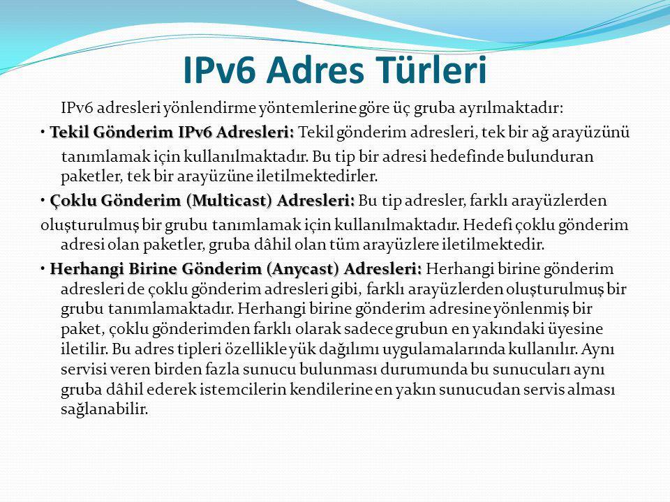IPv6 Adres Türleri IPv6 adresleri yönlendirme yöntemlerine göre üç gruba ayrılmaktadır: Tekil Gönderim IPv6 Adresleri: Tekil Gönderim IPv6 Adresleri: