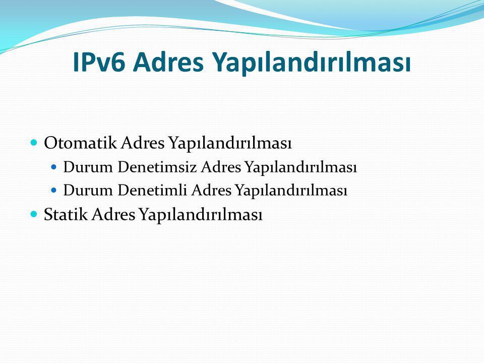 IPv6 Adres Yapılandırılması Otomatik Adres Yapılandırılması Durum Denetimsiz Adres Yapılandırılması Durum Denetimli Adres Yapılandırılması Statik Adre