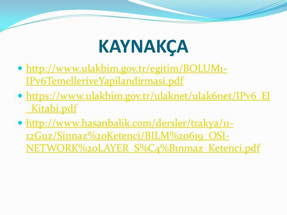 KAYNAKÇA http://www.ulakbim.gov.tr/egitim/BOLUM1- IPv6TemelleriveYapilandirmasi.pdf http://www.ulakbim.gov.tr/egitim/BOLUM1- IPv6TemelleriveYapilandirmasi.pdf https://www.ulakbim.gov.tr/ulaknet/ulak6net/IPv6_El _Kitabi.pdf https://www.ulakbim.gov.tr/ulaknet/ulak6net/IPv6_El _Kitabi.pdf http://www.hasanbalik.com/dersler/trakya/11- 12Guz/Sinnaz%20Ketenci/BILM%20619_OSI- NETWORK%20LAYER_S%C4%B1nmaz_Ketenci.pdf http://www.hasanbalik.com/dersler/trakya/11- 12Guz/Sinnaz%20Ketenci/BILM%20619_OSI- NETWORK%20LAYER_S%C4%B1nmaz_Ketenci.pdf