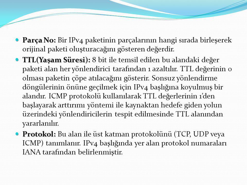 Parça No: Parça No: Bir IPv4 paketinin parçalarının hangi sırada birleşerek orijinal paketi oluşturacağını gösteren değerdir. TTL(Yaşam Süresi): TTL(Y