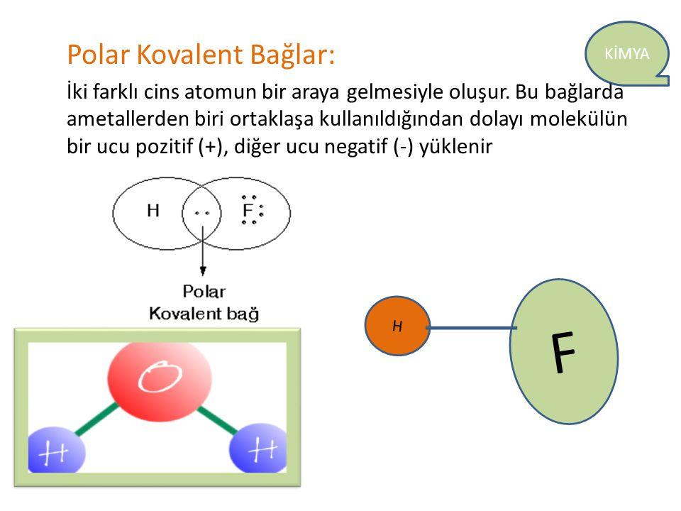 KİMYA Polar Kovalent Bağlar: İki farklı cins atomun bir araya gelmesiyle oluşur. Bu bağlarda ametallerden biri ortaklaşa kullanıldığından dolayı molek