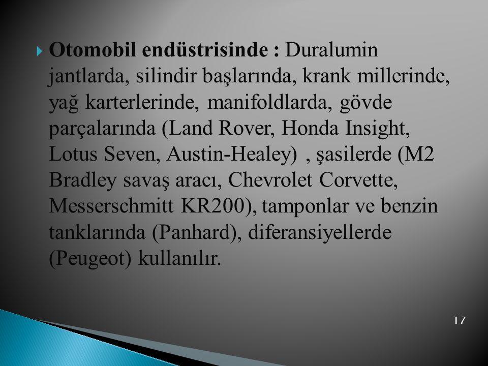  Otomobil endüstrisinde : Duralumin jantlarda, silindir başlarında, krank millerinde, yağ karterlerinde, manifoldlarda, gövde parçalarında (Land Rove