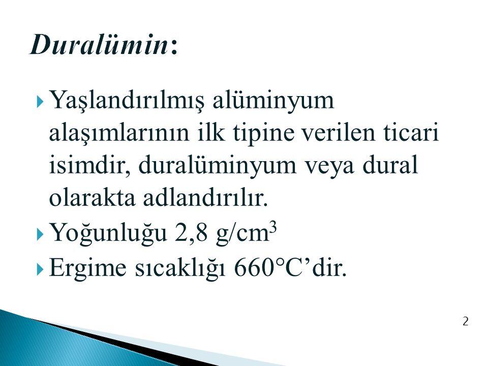  Yaşlandırılmış alüminyum alaşımlarının ilk tipine verilen ticari isimdir, duralüminyum veya dural olarakta adlandırılır.  Yoğunluğu 2,8 g/cm 3  Er