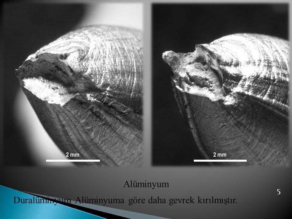 5 Alüminyum Duralüminyum Alüminyuma göre daha gevrek kırılmıştır.