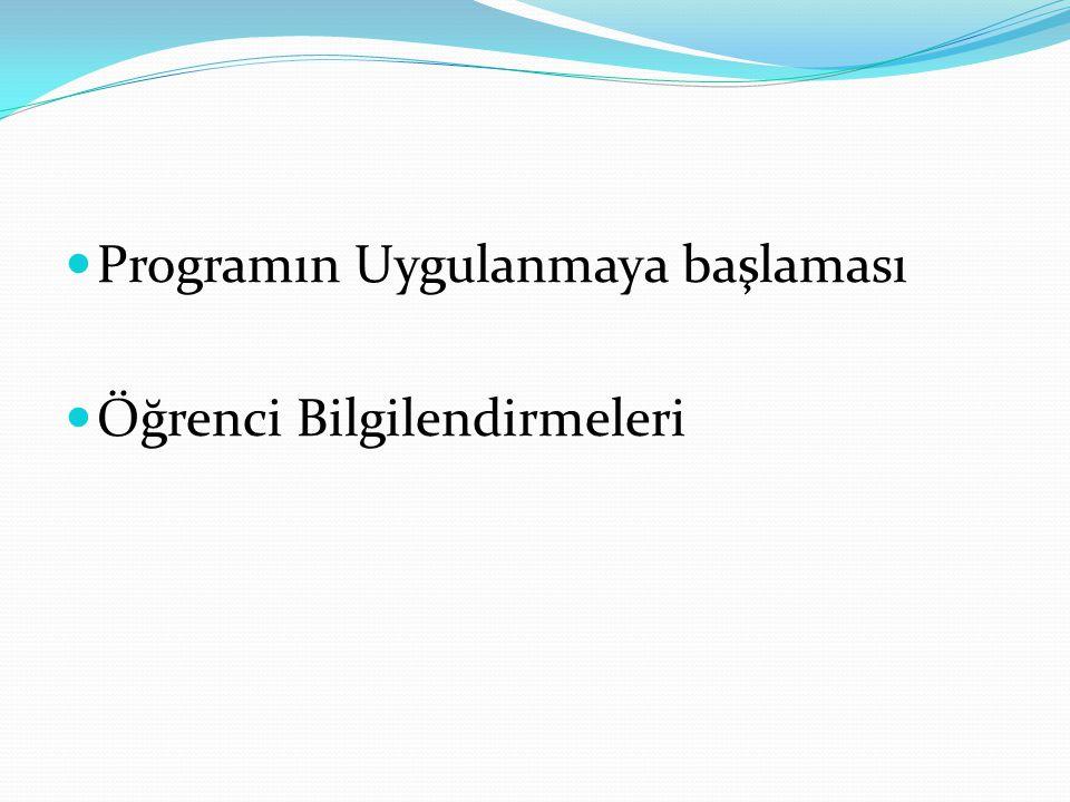 Programın Uygulanmaya başlaması Öğrenci Bilgilendirmeleri