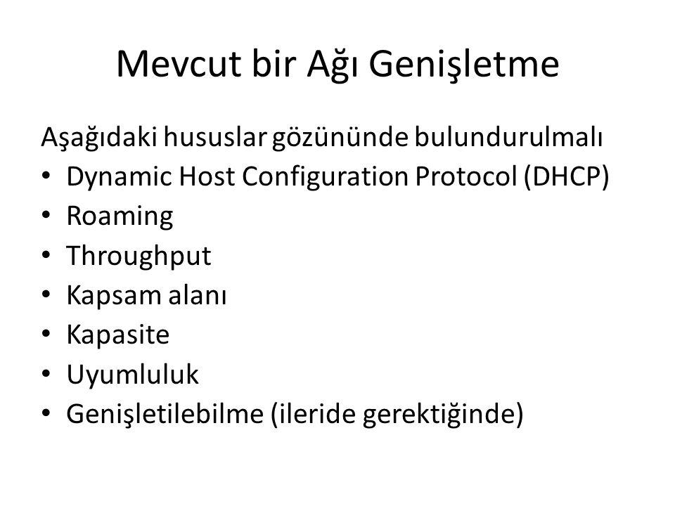 Mevcut bir Ağı Genişletme Aşağıdaki hususlar gözününde bulundurulmalı Dynamic Host Configuration Protocol (DHCP) Roaming Throughput Kapsam alanı Kapasite Uyumluluk Genişletilebilme (ileride gerektiğinde)