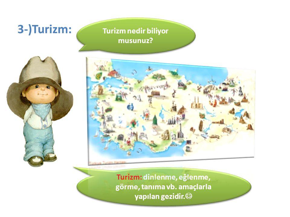 3-)Turizm: Turizm nedir biliyor musunuz? Turizm: dinlenme, eğlenme, görme, tanıma vb. amaçlarla yapılan gezidir.