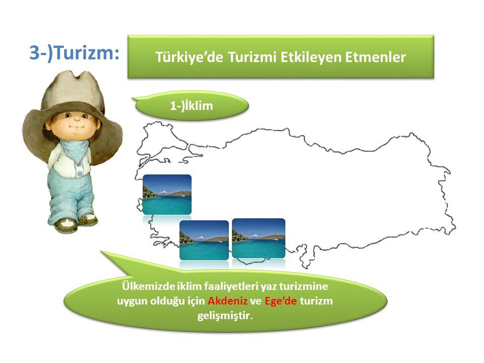 3-)Turizm: Ülkemizde iklim faaliyetleri yaz turizmine uygun olduğu için Akdeniz ve Ege'de turizm gelişmiştir. Türkiye'de Turizmi Etkileyen Etmenler 1-
