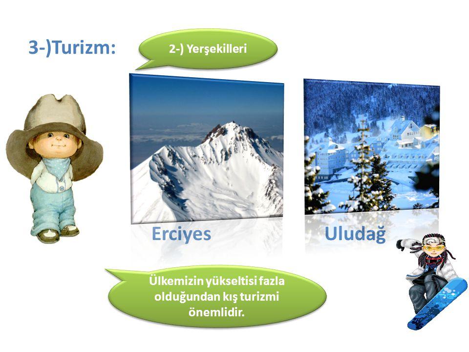 3-)Turizm: Erciyes Uludağ 2-) Yerşekilleri Ülkemizin yükseltisi fazla olduğundan kış turizmi önemlidir.
