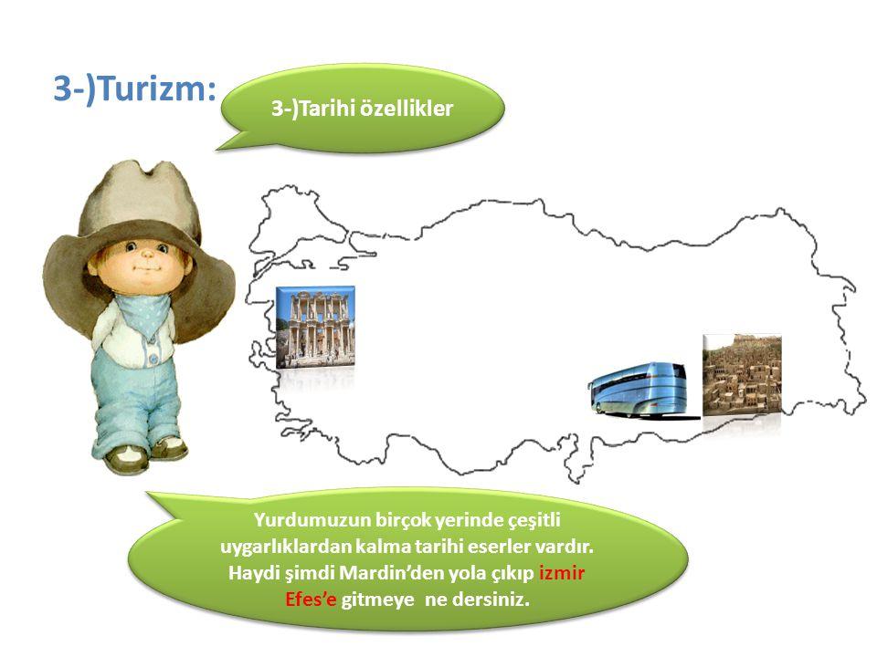 3-)Turizm: 3-)Tarihi özellikler Yurdumuzun birçok yerinde çeşitli uygarlıklardan kalma tarihi eserler vardır. Haydi şimdi Mardin'den yola çıkıp izmir