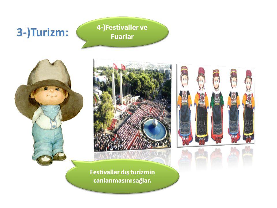 3-)Turizm: 4-)Festivaller ve Fuarlar Festivaller dış turizmin canlanmasını sağlar.