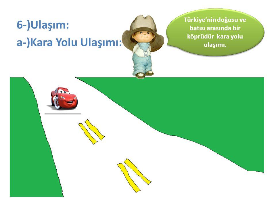 6-)Ulaşım: a-)Kara Yolu Ulaşımı: Türkiye'nin doğusu ve batısı arasında bir köprüdür kara yolu ulaşımı.