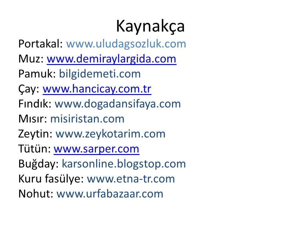 Kaynakça Portakal: www.uludagsozluk.com Muz: www.demiraylargida.comwww.demiraylargida.com Pamuk: bilgidemeti.com Çay: www.hancicay.com.trwww.hancicay.