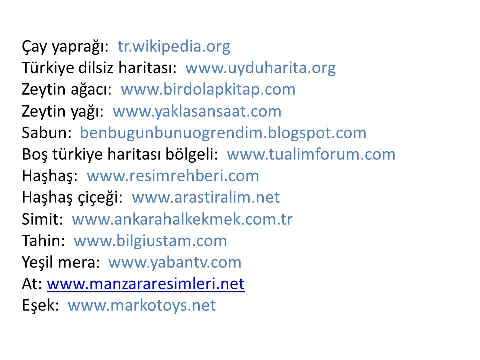 Çay yaprağı: tr.wikipedia.org Türkiye dilsiz haritası: www.uyduharita.org Zeytin ağacı: www.birdolapkitap.com Zeytin yağı: www.yaklasansaat.com Sabun: