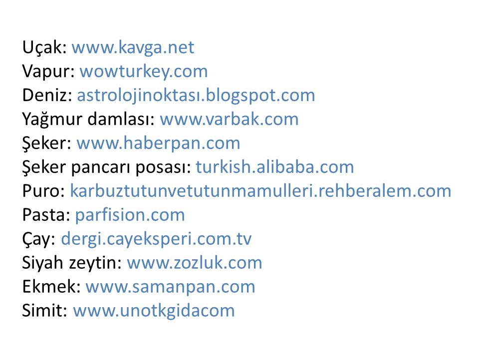 Uçak: www.kavga.net Vapur: wowturkey.com Deniz: astrolojinoktası.blogspot.com Yağmur damlası: www.varbak.com Şeker: www.haberpan.com Şeker pancarı pos