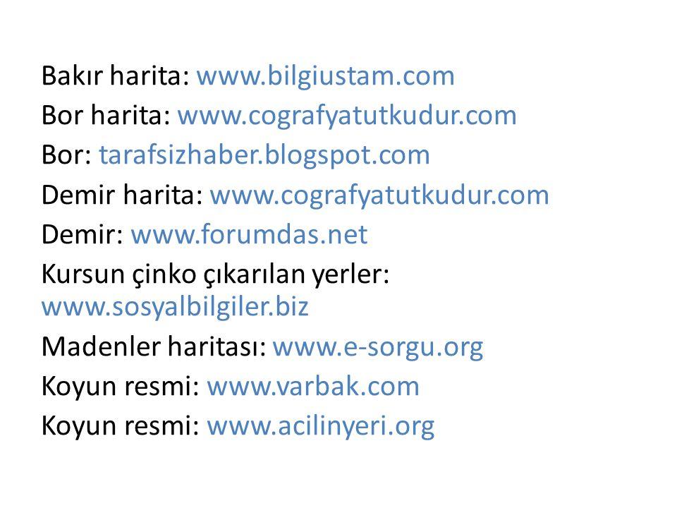 Bakır harita: www.bilgiustam.com Bor harita: www.cografyatutkudur.com Bor: tarafsizhaber.blogspot.com Demir harita: www.cografyatutkudur.com Demir: ww