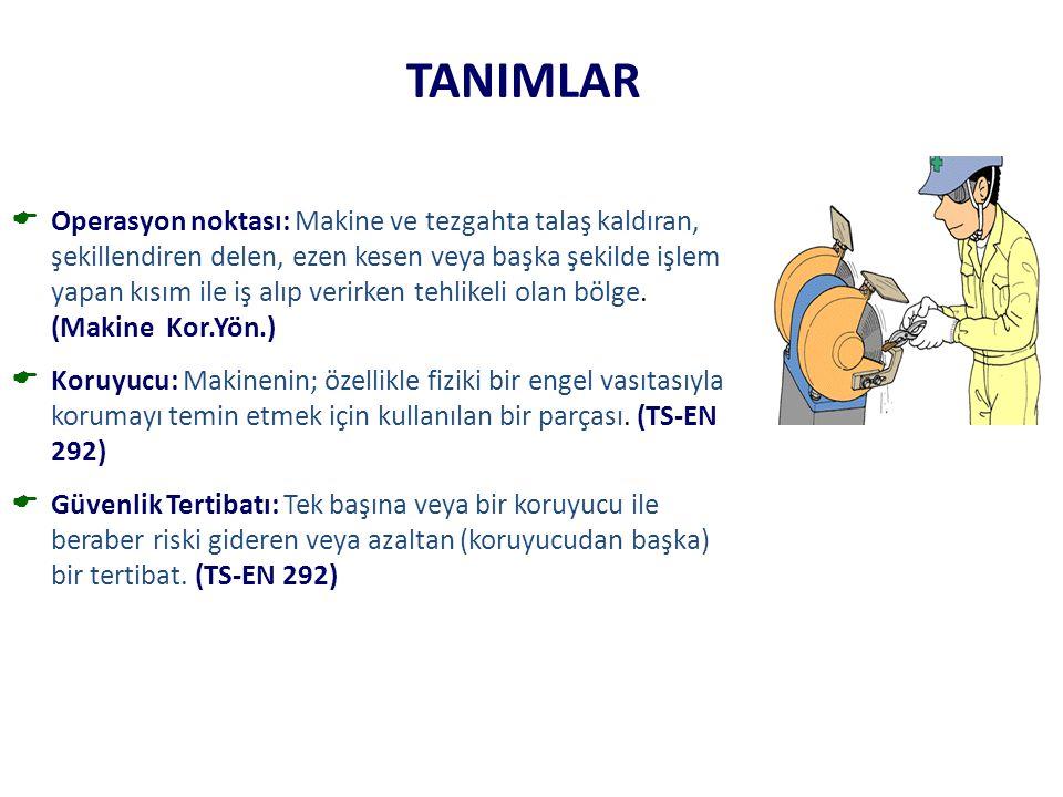 TANIMLAR  Operasyon noktası: Makine ve tezgahta talaş kaldıran, şekillendiren delen, ezen kesen veya başka şekilde işlem yapan kısım ile iş alıp veri