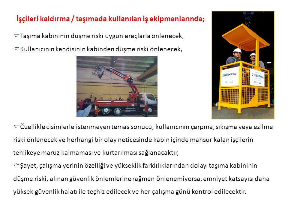  Taşıma kabininin düşme riski uygun araçlarla önlenecek,  Kullanıcının kendisinin kabinden düşme riski önlenecek,  Özellikle cisimlerle istenmeyen