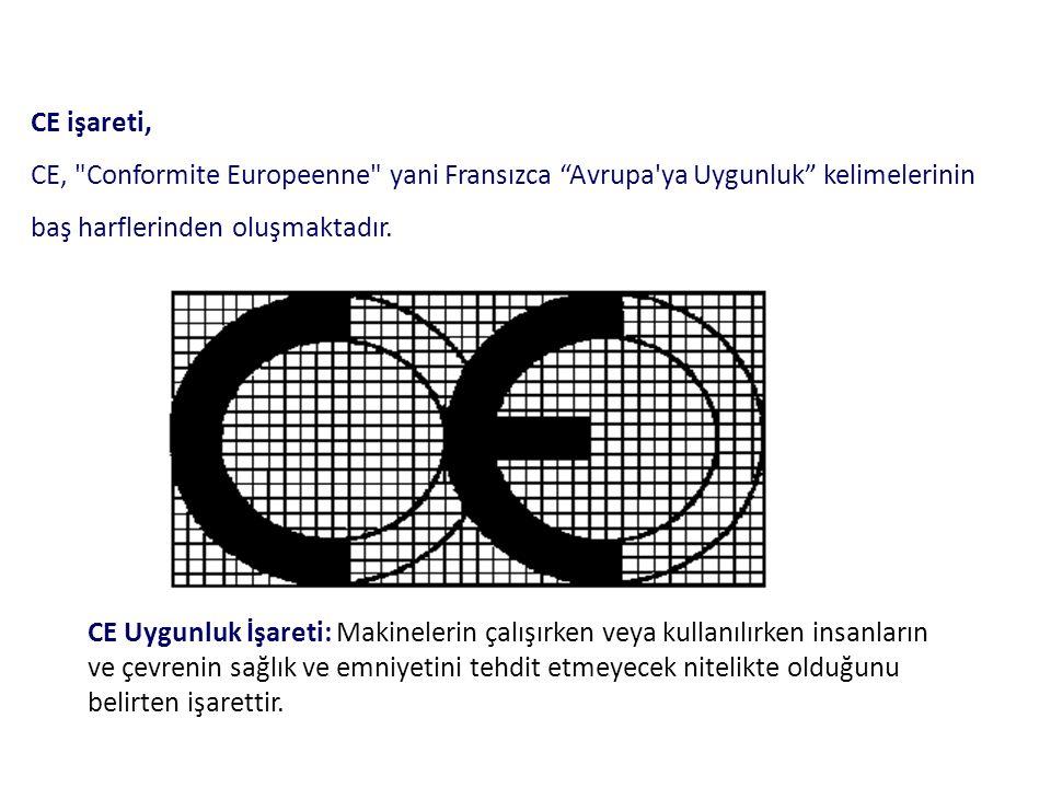 CE işareti, CE, Conformite Europeenne yani Fransızca Avrupa ya Uygunluk kelimelerinin baş harflerinden oluşmaktadır.