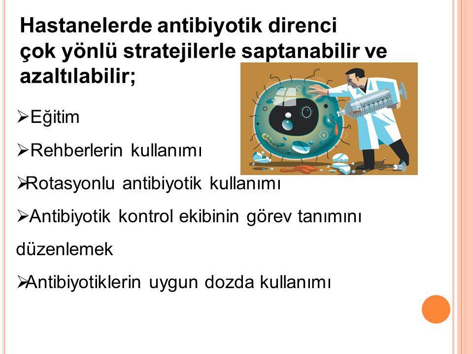  Eğitim  Rehberlerin kullanımı  Rotasyonlu antibiyotik kullanımı  Antibiyotik kontrol ekibinin görev tanımını düzenlemek  Antibiyotiklerin uygun