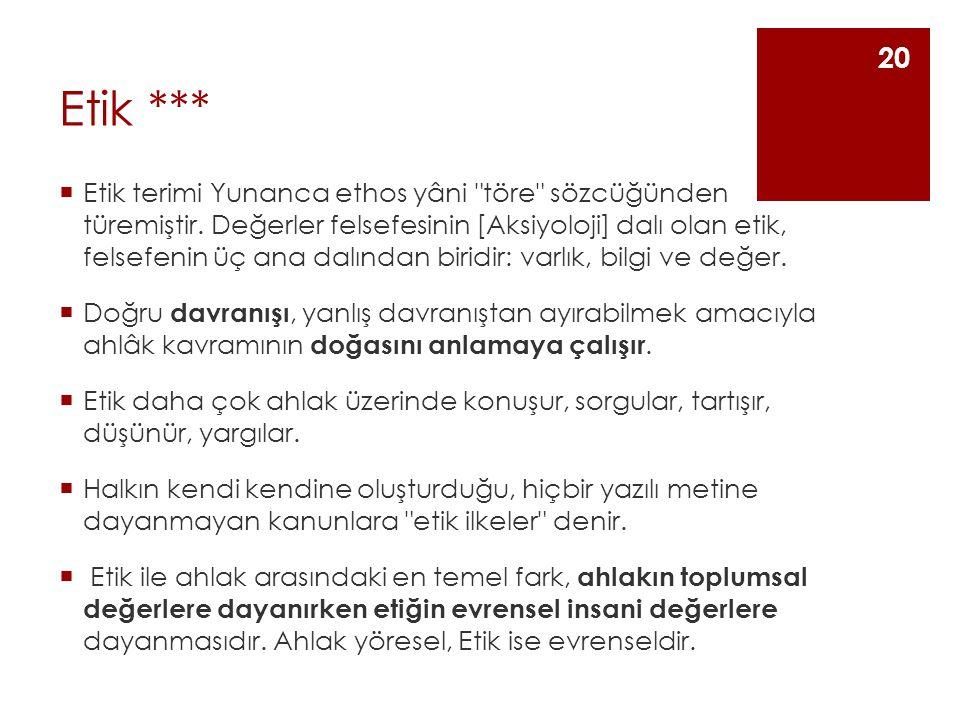 Etik ***  Etik terimi Yunanca ethos yâni töre sözcüğünden türemiştir.