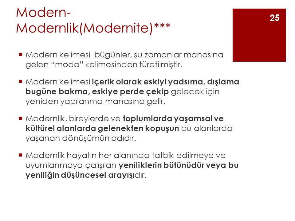 Modern- Modernlik(Modernite)***  Modern kelimesi bügünler, şu zamanlar manasına gelen moda kelimesinden türetilmiştir.