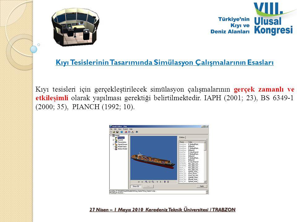 27 Nisan – 1 Mayıs 2010 Karadeniz Teknik Üniversitesi / TRABZON Kıyı Tesislerinin Tasarımında Simülasyon Çalışmalarının Esasları Kıyı tesisleri için g