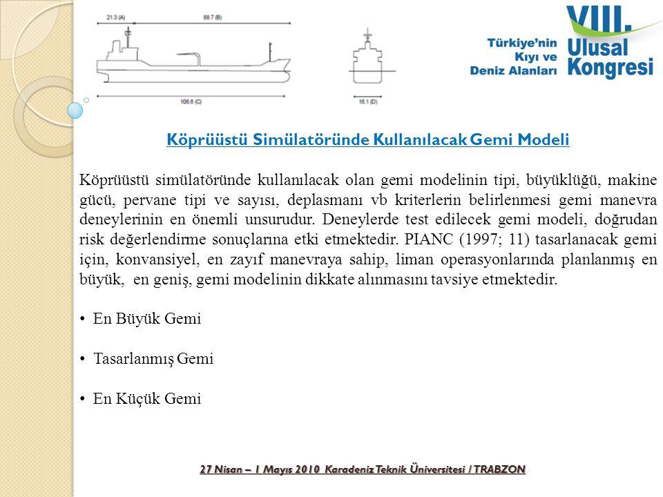 27 Nisan – 1 Mayıs 2010 Karadeniz Teknik Üniversitesi / TRABZON Köprüüstü Simülatöründe Kullanılacak Gemi Modeli Köprüüstü simülatöründe kullanılacak