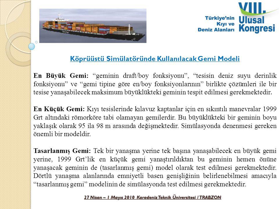 """27 Nisan – 1 Mayıs 2010 Karadeniz Teknik Üniversitesi / TRABZON Köprüüstü Simülatöründe Kullanılacak Gemi Modeli En Büyük Gemi: """"geminin draft/boy fon"""