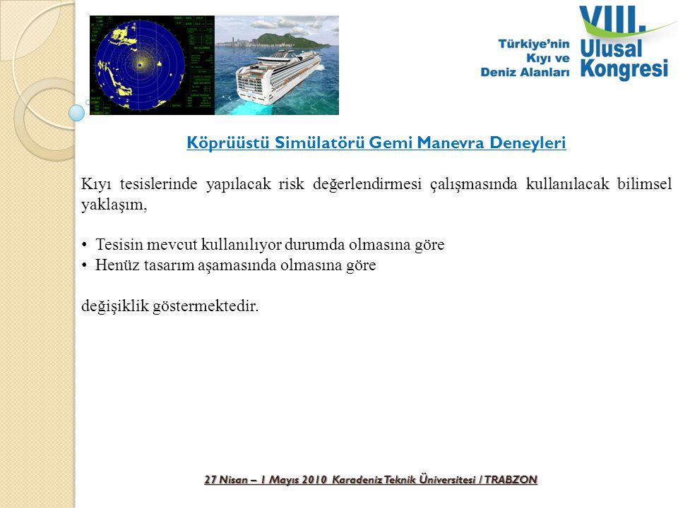 27 Nisan – 1 Mayıs 2010 Karadeniz Teknik Üniversitesi / TRABZON Köprüüstü Simülatörü Gemi Manevra Deneyleri Kıyı tesislerinde yapılacak risk değerlend