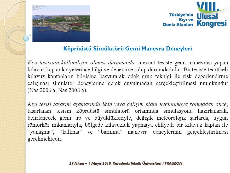 27 Nisan – 1 Mayıs 2010 Karadeniz Teknik Üniversitesi / TRABZON Köprüüstü Simülatörü Gemi Manevra Deneyleri Kıyı tesisinin kullanılıyor olması durumun