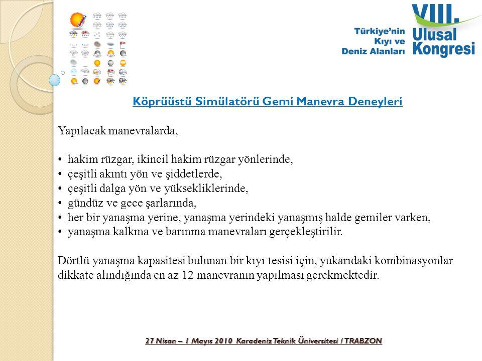 27 Nisan – 1 Mayıs 2010 Karadeniz Teknik Üniversitesi / TRABZON Köprüüstü Simülatörü Gemi Manevra Deneyleri Yapılacak manevralarda, hakim rüzgar, ikin