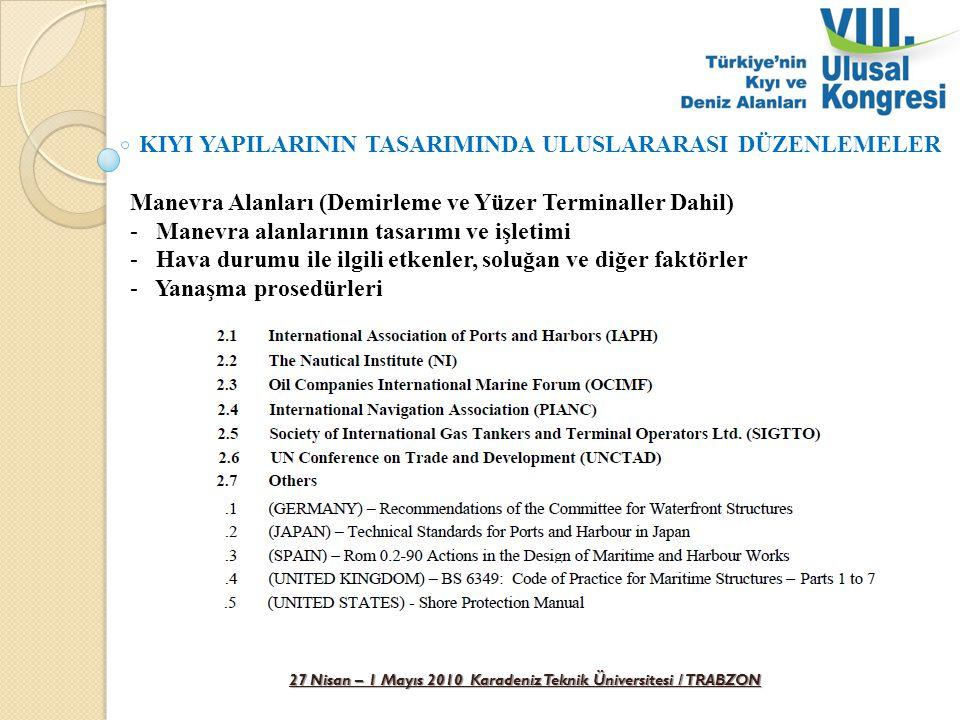 27 Nisan – 1 Mayıs 2010 Karadeniz Teknik Üniversitesi / TRABZON KIYI YAPILARININ TASARIMINDA ULUSLARARASI DÜZENLEMELER Manevra Alanları (Demirleme ve