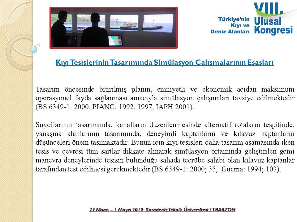 27 Nisan – 1 Mayıs 2010 Karadeniz Teknik Üniversitesi / TRABZON Kıyı Tesislerinin Tasarımında Simülasyon Çalışmalarının Esasları Kıyı tesislerinin, su yollarının ve liman yaklaşımlarına ait planların değerlendirileceği simülatörler sistemin sağladığı görsel fonksiyonlarına göre dört farklı grupta incelenmektedir (PIANC: 1992; 9).