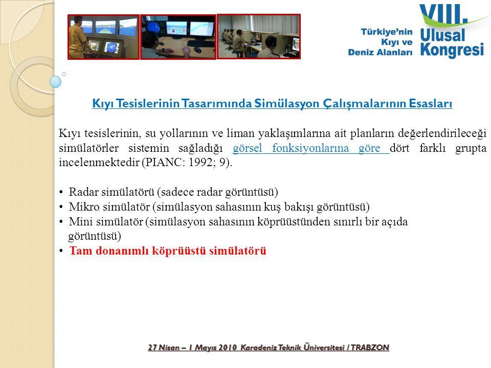 27 Nisan – 1 Mayıs 2010 Karadeniz Teknik Üniversitesi / TRABZON Köprüüstü Simülatörü Gemi Manevra Deneyleri PIANCH (1997; 47) gemi manevra deneyleri için, Römorkör desteği ile ve/veya desteksiz olarak yapılmasını, Tüm meteorolojik koşullar, emniyet limitlerinin zorlanmasını, Usturmaça etkileri test edilmesin gerektiğini belirterek Yapılması gerekli manevraları aşağıdaki gibi sıralamıştır.