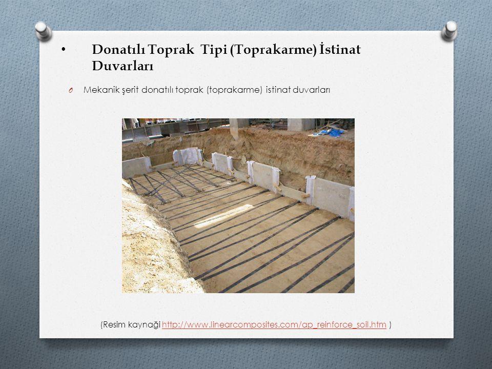 Donatılı Toprak Tipi (Toprakarme) İstinat Duvarları O Mekanik şerit donatılı toprak (toprakarme) istinat duvarları (Resim kaynaği http://www.linearcom