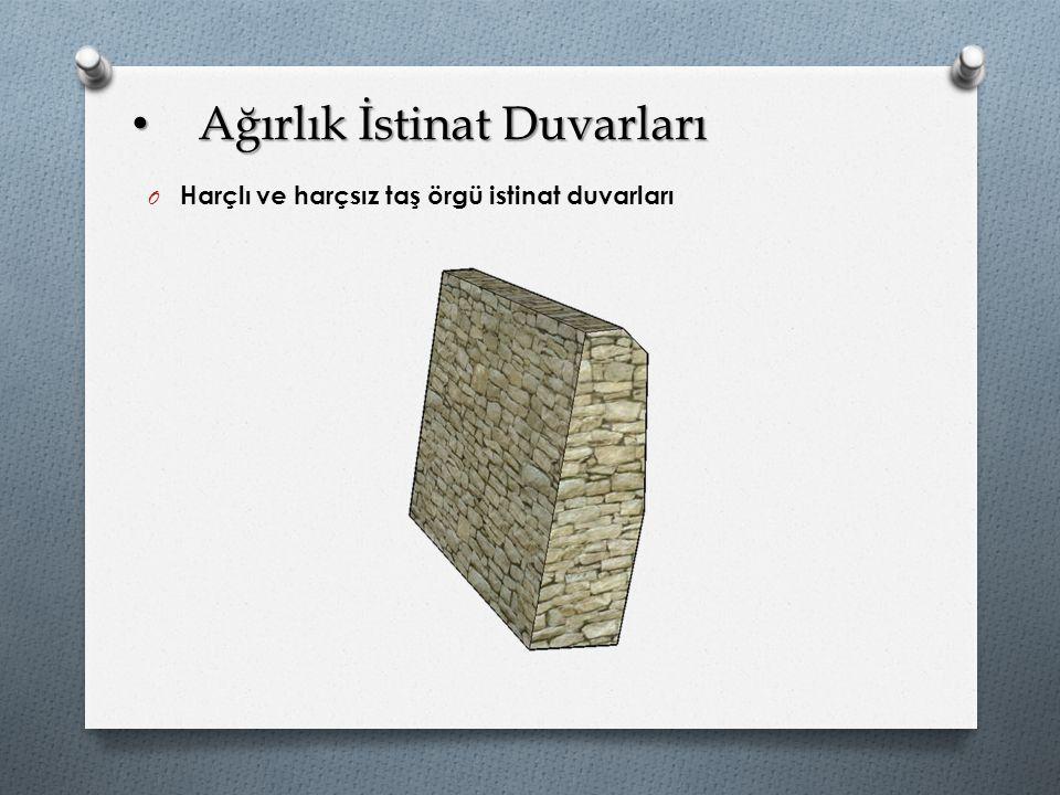 Ağırlık İstinat Duvarları Ağırlık İstinat Duvarları O Harçlı ve harçsız taş örgü istinat duvarları