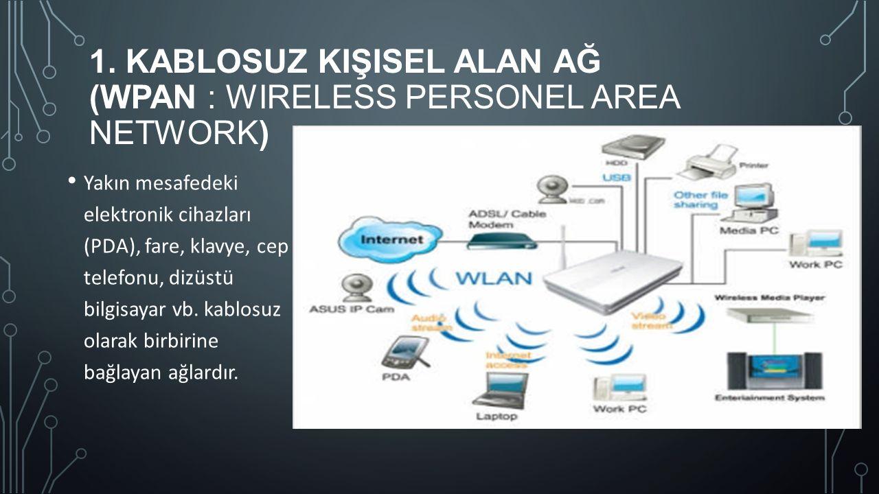 1. KABLOSUZ KIŞISEL ALAN AĞ (WPAN : WIRELESS PERSONEL AREA NETWORK) Yakın mesafedeki elektronik cihazları (PDA), fare, klavye, cep telefonu, dizüstü b