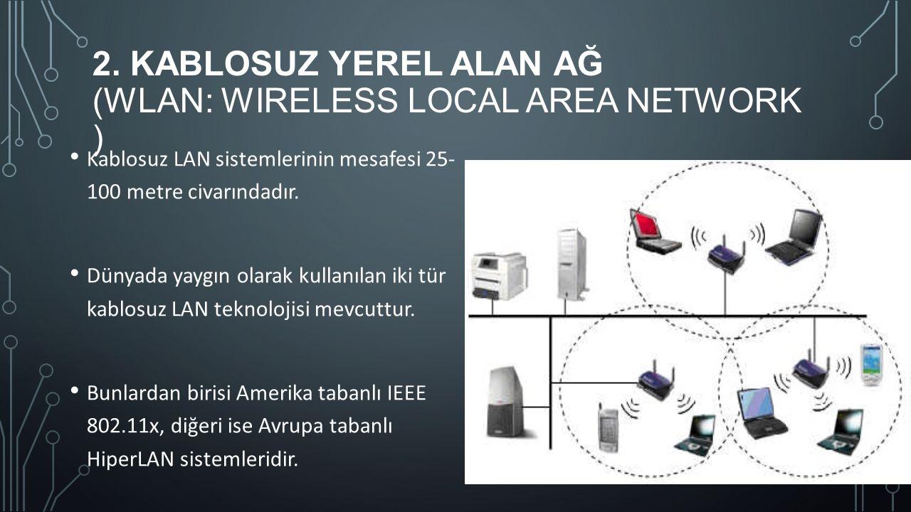 2. KABLOSUZ YEREL ALAN AĞ (WLAN: WIRELESS LOCAL AREA NETWORK ) Kablosuz LAN sistemlerinin mesafesi 25- 100 metre civarındadır. Dünyada yaygın olarak k
