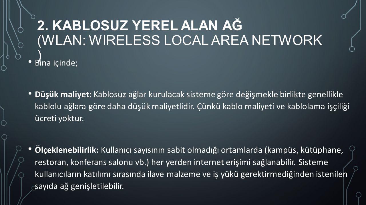 2. KABLOSUZ YEREL ALAN AĞ (WLAN: WIRELESS LOCAL AREA NETWORK ) Bina içinde; Düşük maliyet: Kablosuz ağlar kurulacak sisteme göre değişmekle birlikte g