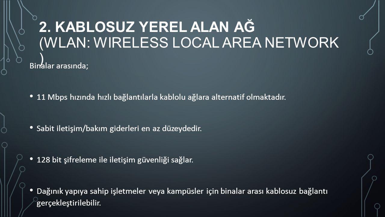 2. KABLOSUZ YEREL ALAN AĞ (WLAN: WIRELESS LOCAL AREA NETWORK ) Binalar arasında; 11 Mbps hızında hızlı bağlantılarla kablolu ağlara alternatif olmakta