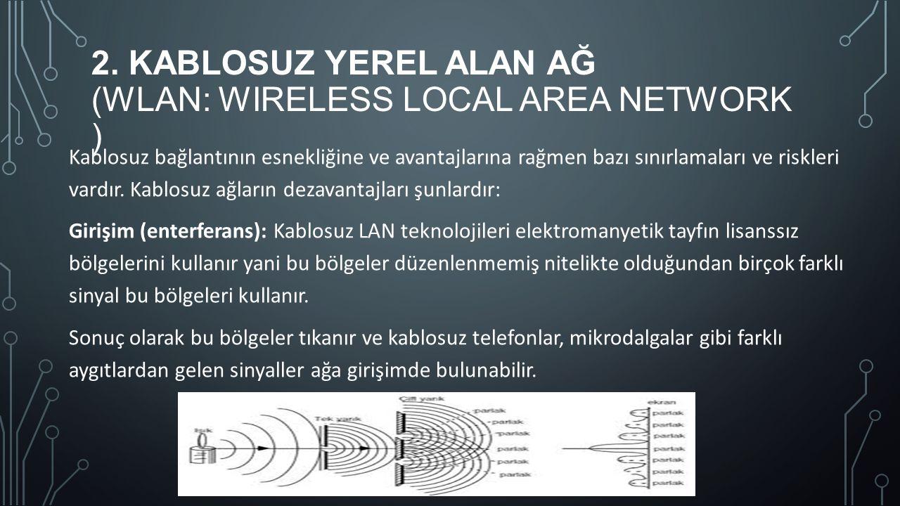 2. KABLOSUZ YEREL ALAN AĞ (WLAN: WIRELESS LOCAL AREA NETWORK ) Kablosuz bağlantının esnekliğine ve avantajlarına rağmen bazı sınırlamaları ve riskleri