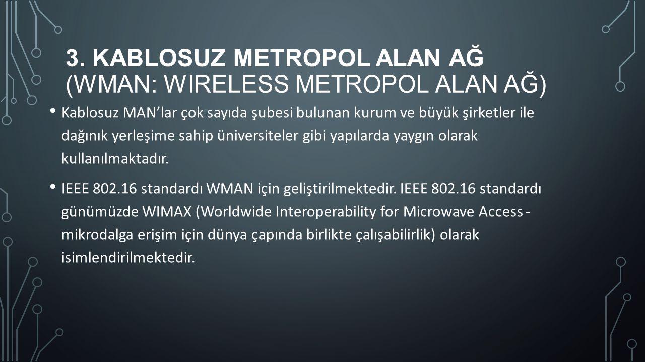 3. KABLOSUZ METROPOL ALAN AĞ (WMAN: WIRELESS METROPOL ALAN AĞ) Kablosuz MAN'lar çok sayıda şubesi bulunan kurum ve büyük şirketler ile dağınık yerleşi