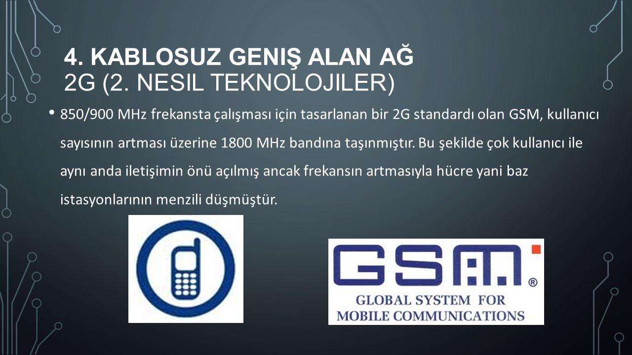 4. KABLOSUZ GENIŞ ALAN AĞ 2G (2. NESIL TEKNOLOJILER) 850/900 MHz frekansta çalışması için tasarlanan bir 2G standardı olan GSM, kullanıcı sayısının ar