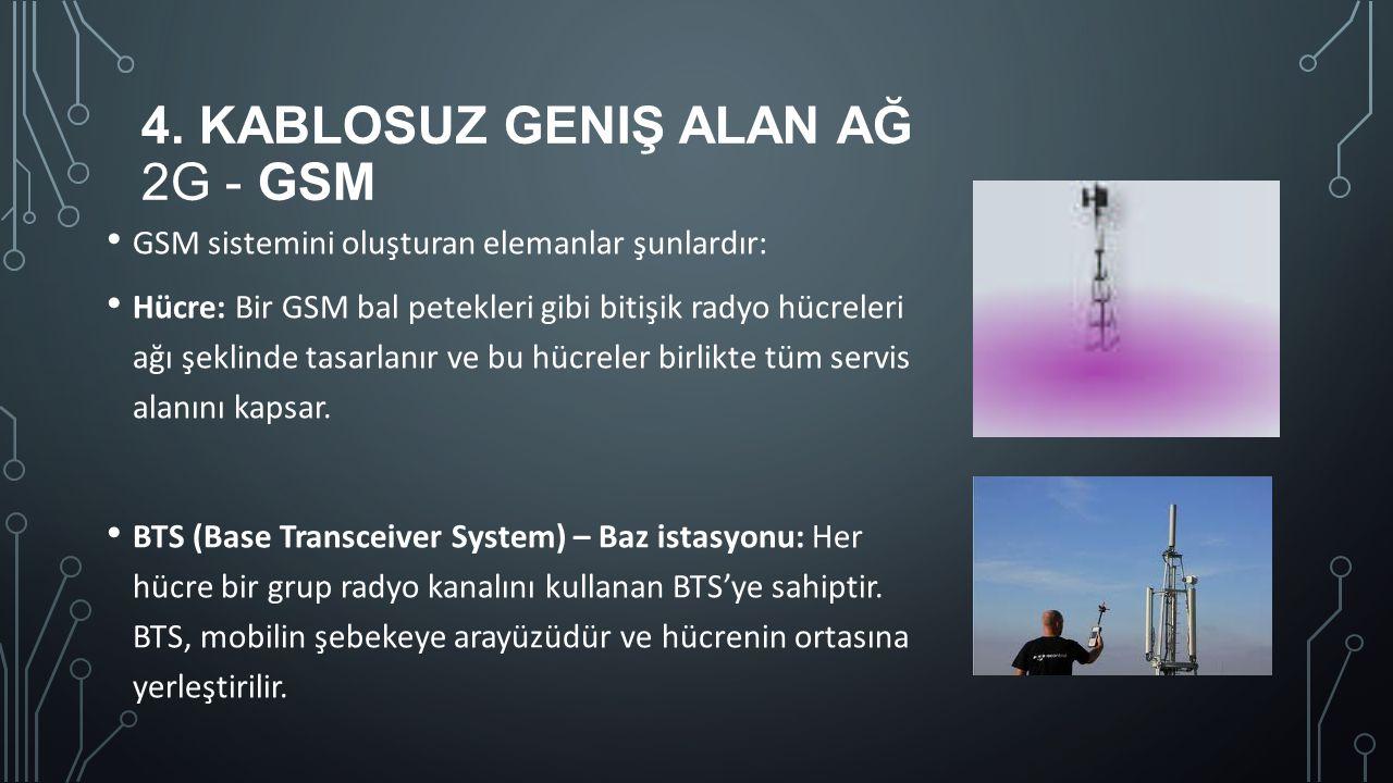 4. KABLOSUZ GENIŞ ALAN AĞ 2G - GSM GSM sistemini oluşturan elemanlar şunlardır: Hücre: Bir GSM bal petekleri gibi bitişik radyo hücreleri ağı şeklinde