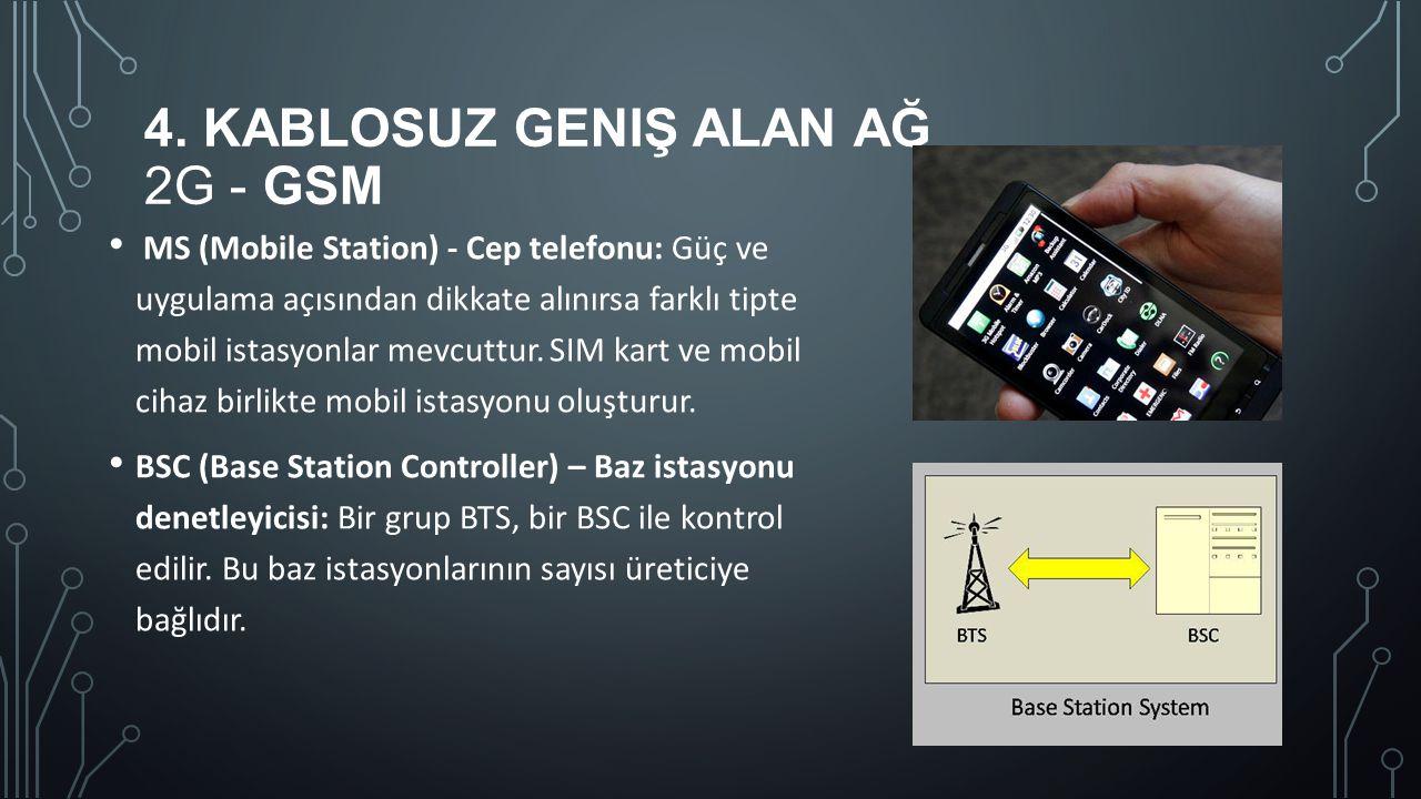 4. KABLOSUZ GENIŞ ALAN AĞ 2G - GSM MS (Mobile Station) - Cep telefonu: Güç ve uygulama açısından dikkate alınırsa farklı tipte mobil istasyonlar mevcu