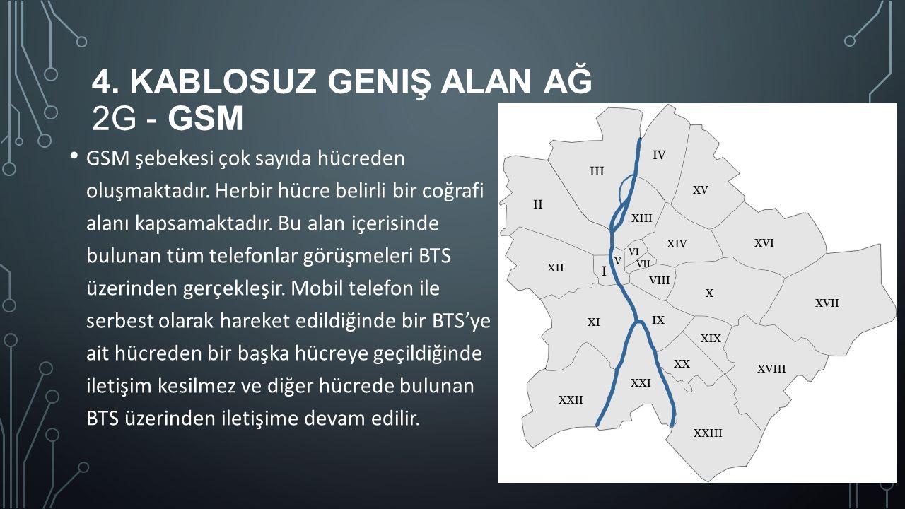 4. KABLOSUZ GENIŞ ALAN AĞ 2G - GSM GSM şebekesi çok sayıda hücreden oluşmaktadır. Herbir hücre belirli bir coğrafi alanı kapsamaktadır. Bu alan içeris